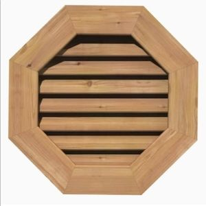 Wood Louver Gable Vent Octagon Shape Cedar